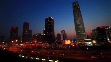 The panorama of Guomao CBD along Third Ring Road at night,Beijing,China — Stock Video