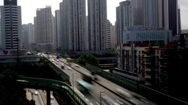 Heavy traffic and flyover in Shenzhen,China — Stock Video
