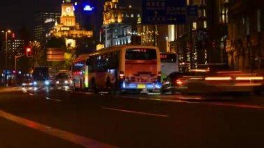 The heavy traffic on Shanghai Bund,China — Stock Video