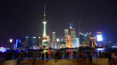 Pudong New Area viewed from Bund at night,Shanghai,China — Stock Video