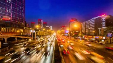 The traffic on the highway of Beijing at night — Stock Video