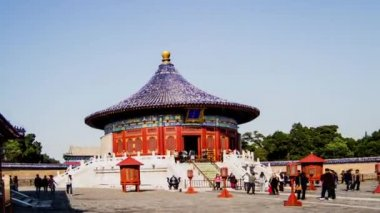The echo wall and the Hall in Temple of Heaven — Stock video