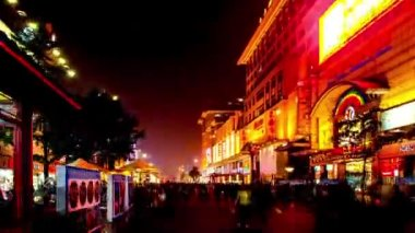 Walking along Wangfujing Street at night,Beijing,China — Stock Video