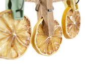 Three lemons on a clothespeg — Stock Photo