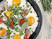 Fried eggs on the simple — Stock Photo