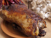 Baked duck on a table — Stock Photo