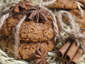 Avenaceous cookie and spices — Stock Photo