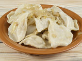 Dish of vareniks — Stock Photo