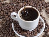 Drops in a cup of coffee — Stock Photo