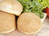 Three croissants in kitchen — Stock Photo