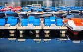 Multicolored catamarans and boats — Stock Photo