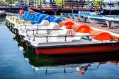 Row of multicolored catamarans — Stock Photo