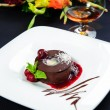 Stock Photo: Luscious chocolate dessert with fresh berries on plate