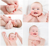 Adorable Baby massage collage — 图库照片