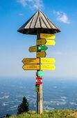 Tourist signpost on the edge of mountain in Graz, Austria — Stock Photo