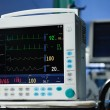 Anesthesia monitor description close-up - Stock Photo