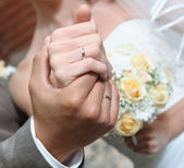 Hands of the bride and groom close-up — Stock Photo