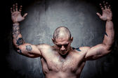 Muscular tattooed man with hands raised up — Stock Photo