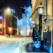 Stock Photo: Night town in winter. Riga, Latvia