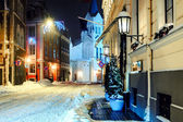 Night town in winter. Riga, Latvia — Stock Photo