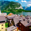 vista di hallstatt. villaggio alpino in austria — Foto Stock