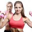 Two attractive athletic girl with dumbbells — Stock Photo