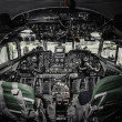 Inside of airplane cockpit - Stock Photo