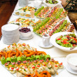 Table with various delicious appetizer — 图库照片