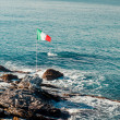 Royalty-Free Stock Photo: Italian flag and Ligurian Sea