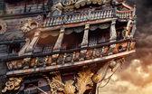 пиратский корабль и грозовое небо — Стоковое фото