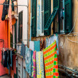 Drying clothes outside. Manarola, Italy - Stock Photo