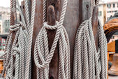 Ropes on the shroud on a sailing ship close-up — Stock Photo
