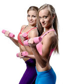 Two beautiful young woman doing fitness exercise with dumbbells — Stock Photo