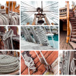 Collage of ship rigging - Stock Photo