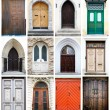 Collage of old-fashioned multicolored doors — Stock Photo