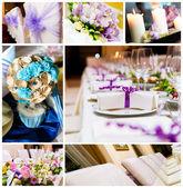 Colagem de decorações de casamento — Foto Stock