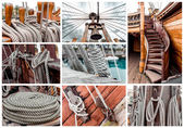 Collage of ship rigging — Stock Photo