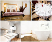 Collage of luxurious house interior — Foto Stock