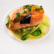 Main dish with salmon fillet — Stock Photo