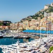 Panoramic view of port in Monaco, luxury yachts in a row — Stock Photo