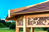 Part of outdoor wooden gazebo — Stock Photo