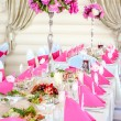 Wedding Table Decorations in pink and white colors — Stock Photo #26869053