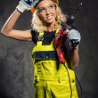 Attractive builder woman with a drill in her hands — Stock Photo #27053915