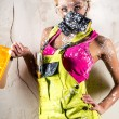 Stock Photo: Female worker in respirator