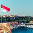 National flag of of the Principality of Monaco and view of port — Stock Photo