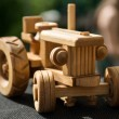 Small wooden toy car — Stock Photo
