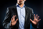 Man in elegant black jacket and blue shirt — Stock Photo