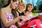 Grupp av studenter som studerar utomhus — Stockfoto
