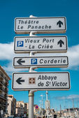 Road sign of landmarks in Marseille, France — Stock Photo