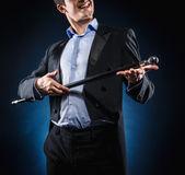 Man holding cane — Stock Photo